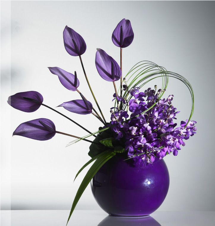Purple Anthuriums Modern Design Floral Arrangement Flower Arrangements Corporate Flowers Modern Flower Arrangements