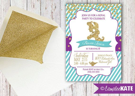 Princess jasmine gold glitter aqua purple girls birthday party princess jasmine gold glitter aqua purple girls birthday party invitation personalized for you with or without photo stopboris Image collections
