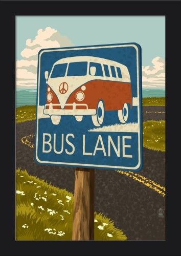 e0e4f11c602 VW Van Bus Lane Sign - Lantern Press Artwork (12x18 Giclee Art Print ...