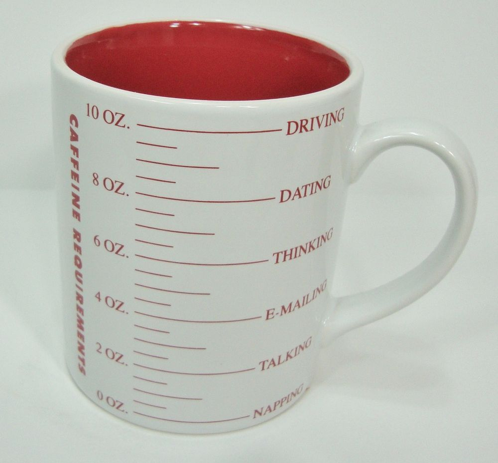 Caffeine Requirements Coffee Mug Cup White Red Porcelain 14-16 oz Punctuate  #PunctuatebyBarnesNoble