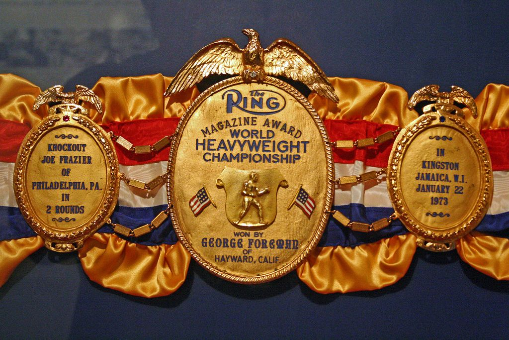 Foreman presented this championship belt to the