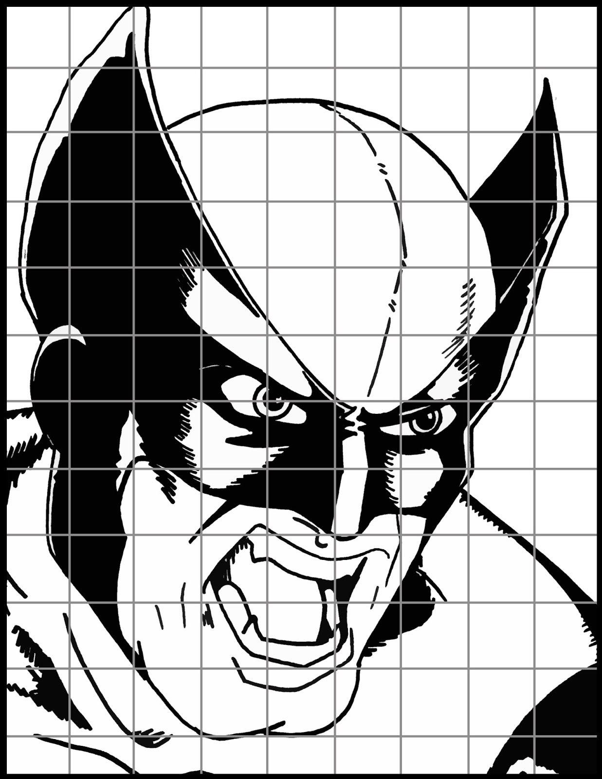 Superhero Grid Drawing