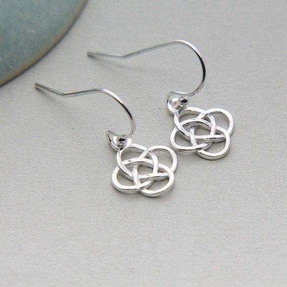 Celtic Knot Earrings Sterling Silver Irish Love