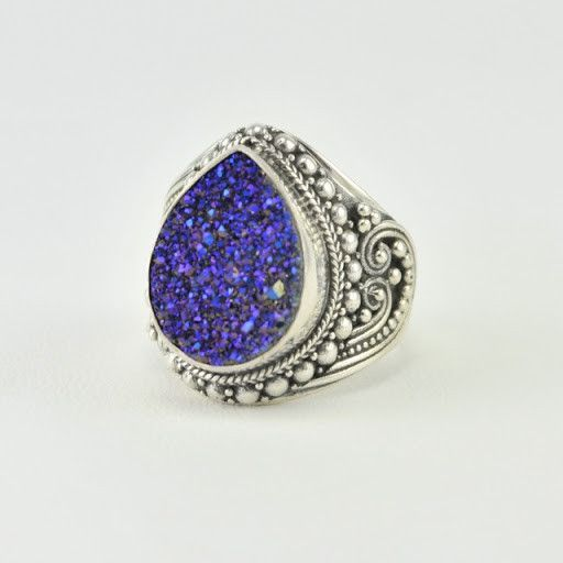 [5549] sterling silver titanium druzy agate tear ring size 7