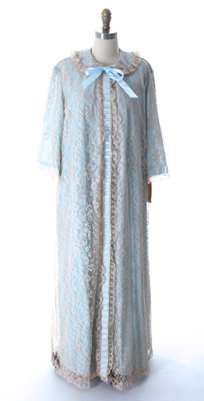 Odette Barsa VTG Lingerie Nightgown Robe Set Nylon Lace Peignoir Negligee  Blue M… e092ab8cf