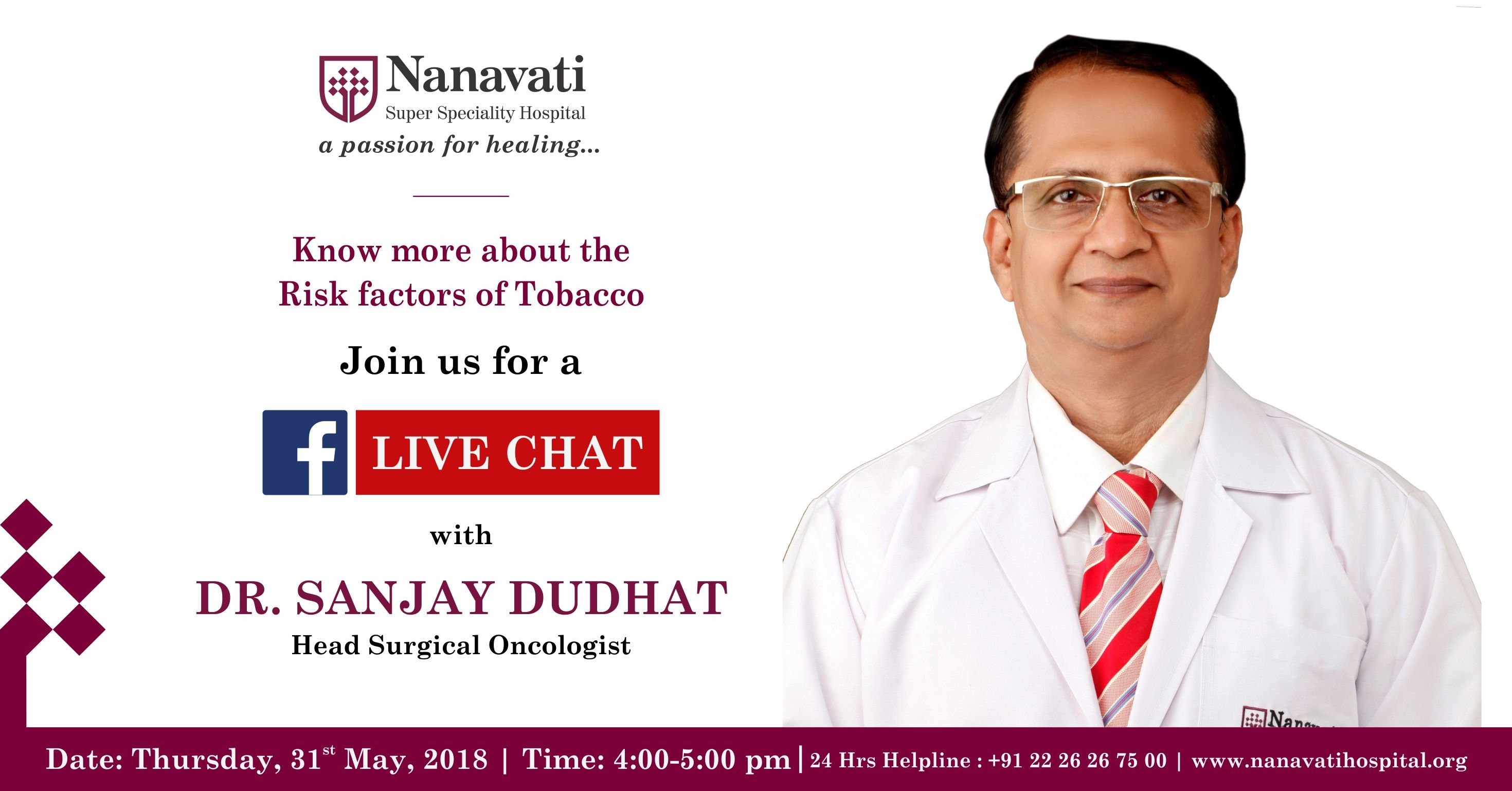 Stay tuned for our facebook live chat with dr sanjay dudhat on st