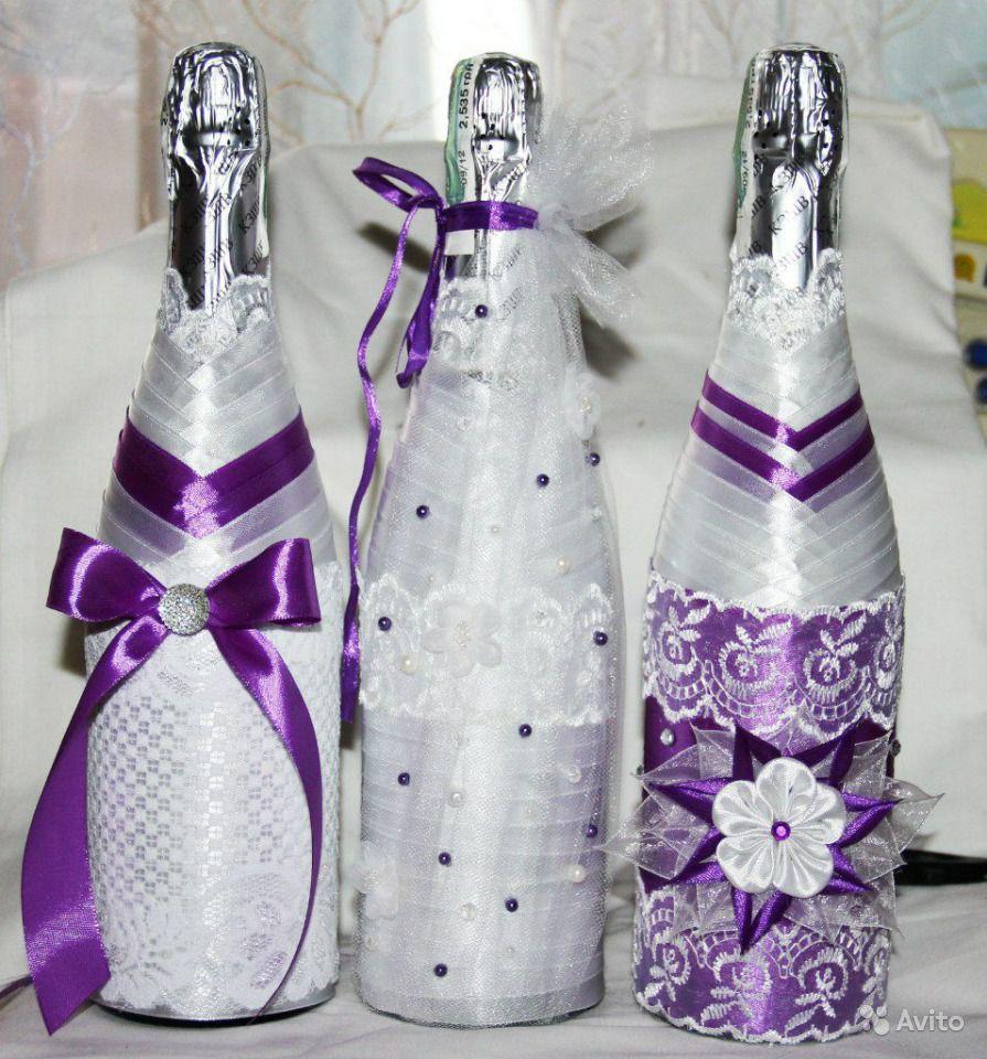 украсить бутылку шампанского лентами на день рождения