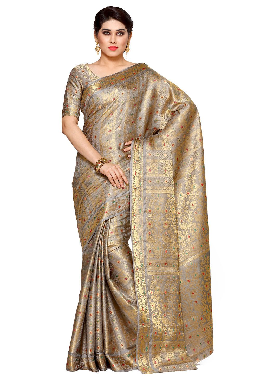 e440a8439ad99 Buy Woven Bangalore Silk Saree in Grey and Golden online