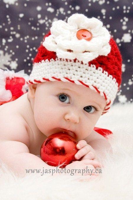 7c8d1ac44c Christmas Newborn Baby Girl Hat Beanie by OhioCrochetLady on Etsy ...