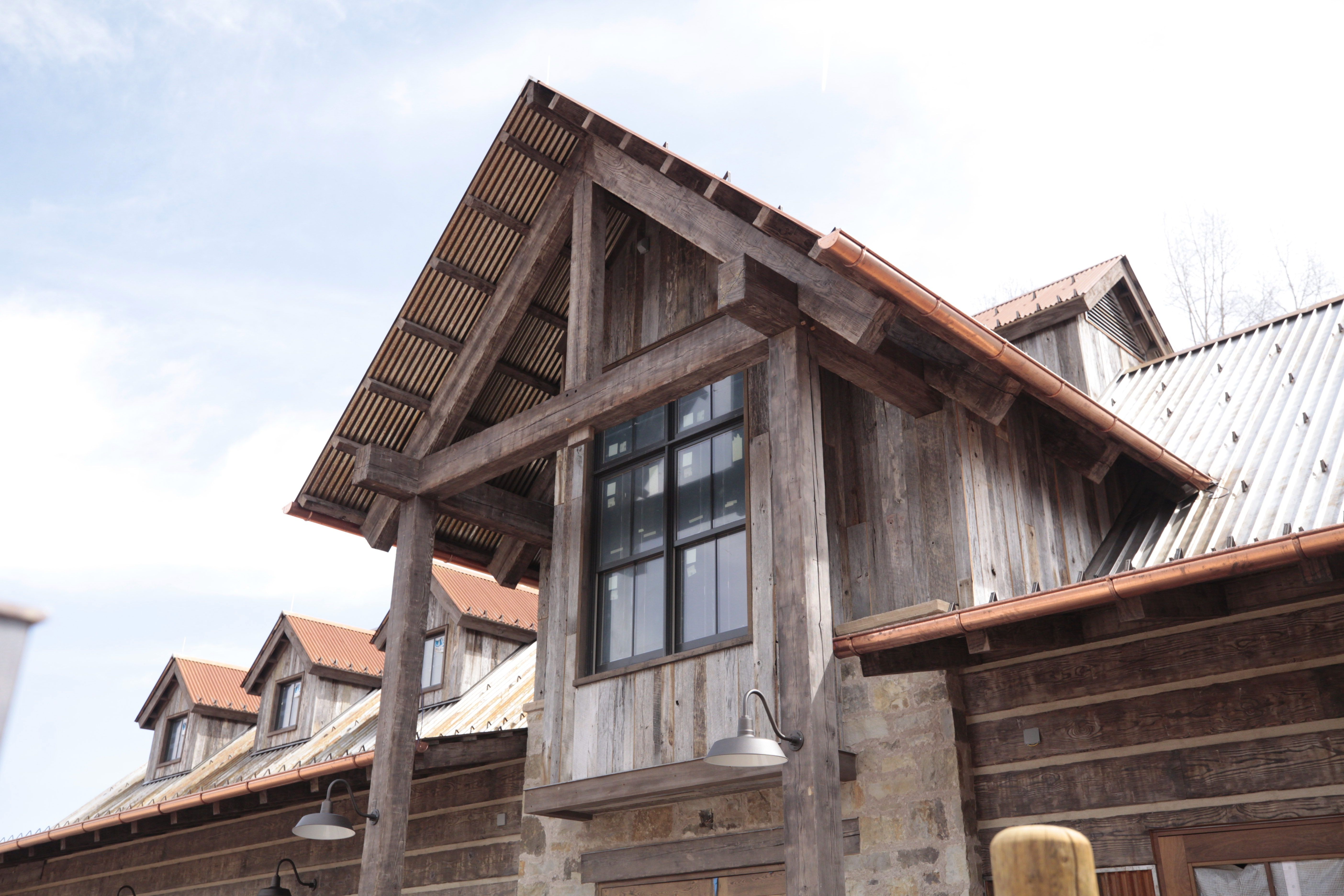 Reclaimed Douglas Fir Timber Framing Complements Weathered Grey Hardwood Barn Siding Reclaimed Barn Wood Floors Barn Siding Barnwood Floors