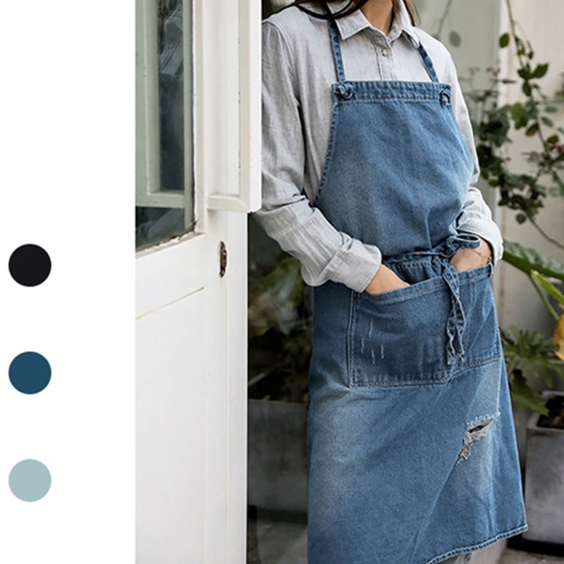 New Apron Denim Fashion Apron Mens Women Coffee Barber Shop Bookstore Workwear