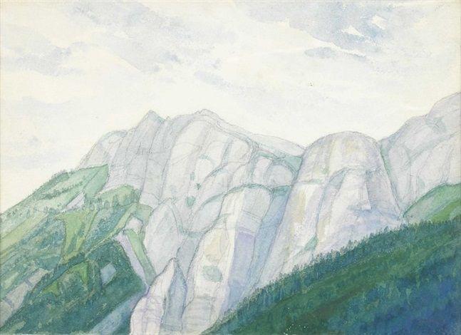 Felsmassiv über der Baumgrenze par Albert Trachsel