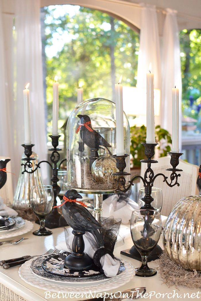 Halloween Table Setting with Mercury Glass Pumpkins Halloween - halloween table setting ideas