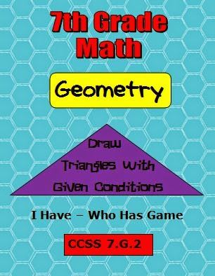 Students will draw triangles if possible given three sides or three angles. I Have - Who Has Game http://www.thebestofteacherentrepreneurs.net/2014/12/math-lesson-common-core-math-7th-grade.html