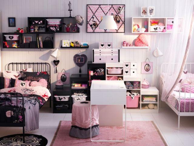 Charmant Chambre Double Pour Fille Noir Et Rose