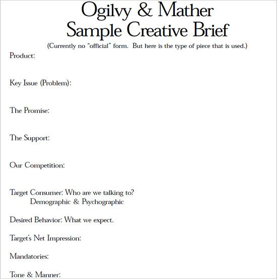 Creative Brief Template, Ogilvy Mather, Ads