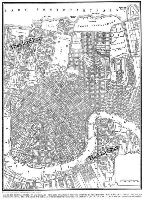 1944 Map Of New Orleans Giant Print Would Look Fabulous Framed