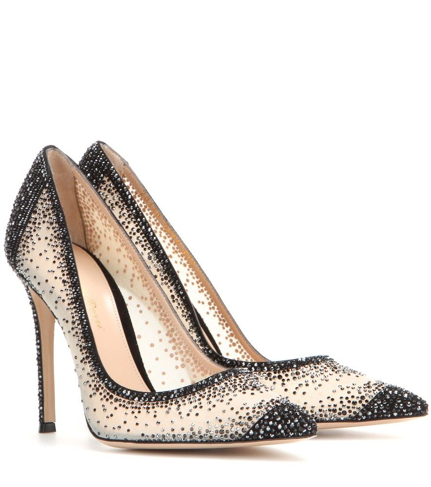 Gianvito Rossi - Crystal embellished pumps - Tiny crystals embellish these ultra-glam pumps, which are ideal for summer. Gianvito Rossi's black and white design is enhanced by the glittering effect. These are perfect for all-night summer parties. seen @ www.mytheresa.com