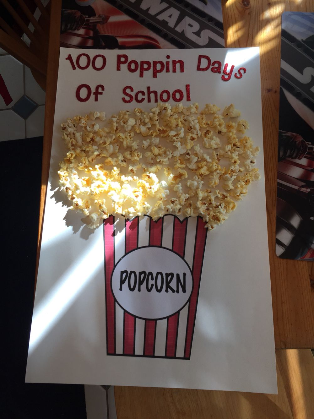 74ad1ee1a 100th day of school project! (100 pieces of popcorn) | School | 100 ...