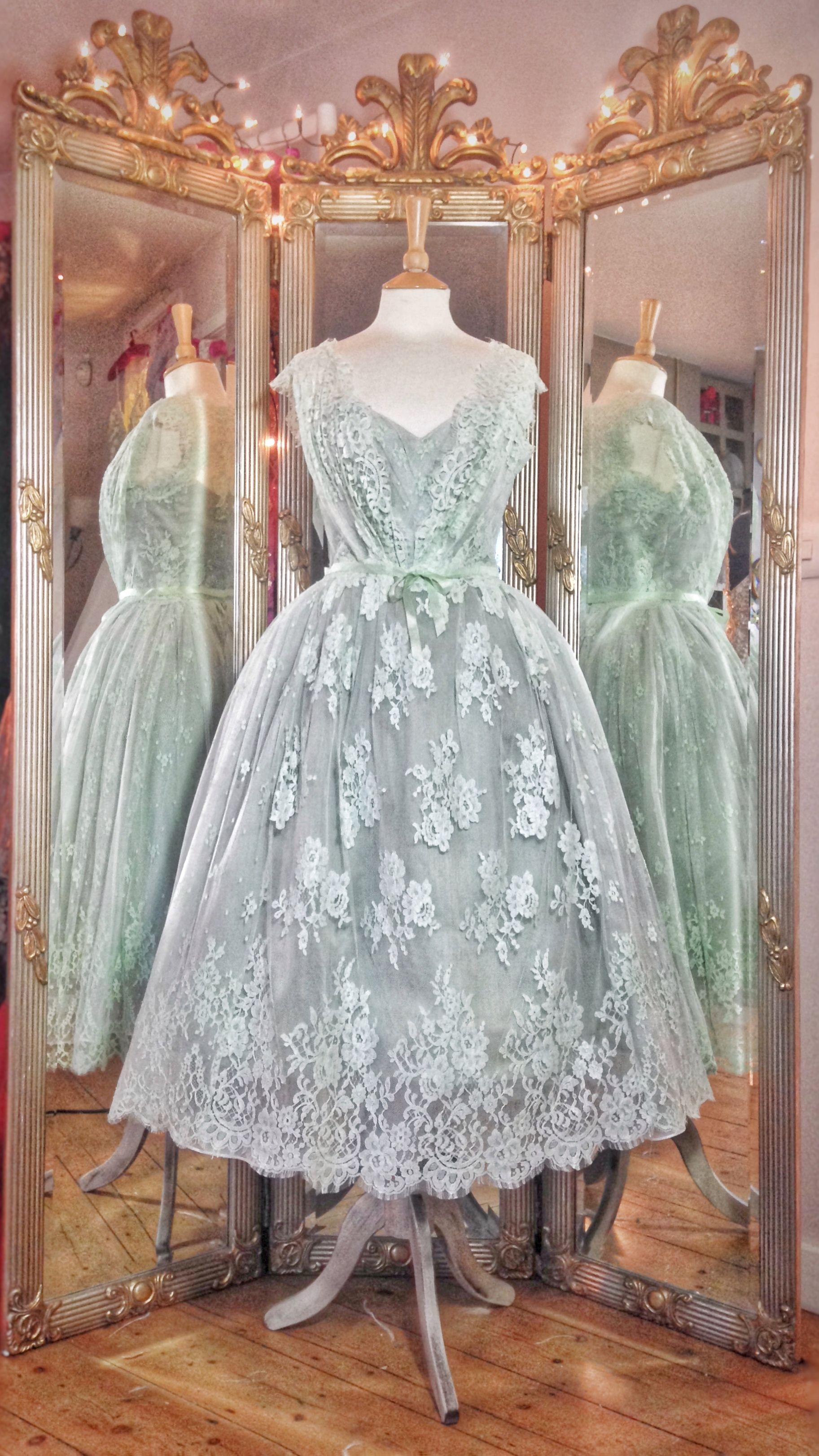 Pale Green French Lace And Silk Tea Length Wedding Dress By Joanne