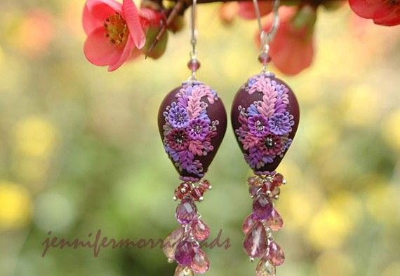 amaranthine fandango - rich and sparkling dangle earrings - reserved for wrappedinclover