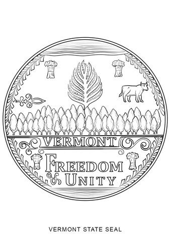 Vermont State Seal Coloring Page From Vermont Category Select