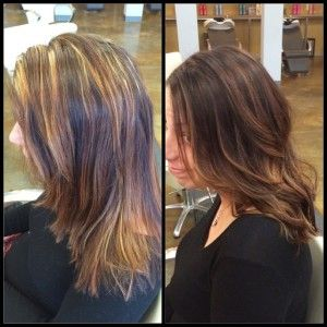 brunette, color correction, hair painting, redken, dimensional ...