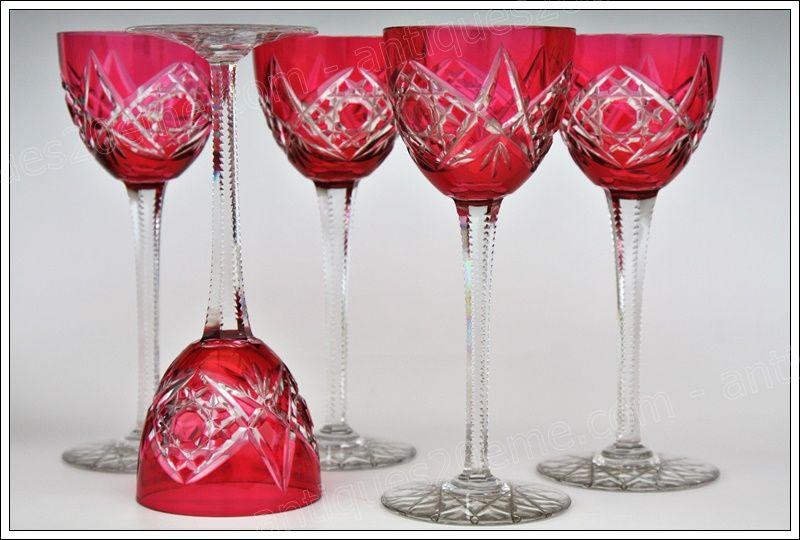Baccarat Fantaisie 5 Verres à Vin Du Rhin 5 Roemer Glasses Set Verre De Vin Baccarat Vin