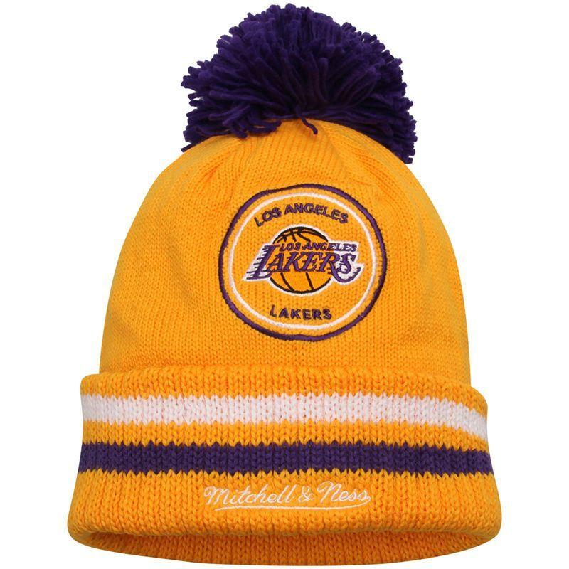 d602c932490 Los Angeles Lakers Mitchell   Ness Hardwood Classics Big Man High Five  Cuffed Knit Hat - Gold  ThingstoWear