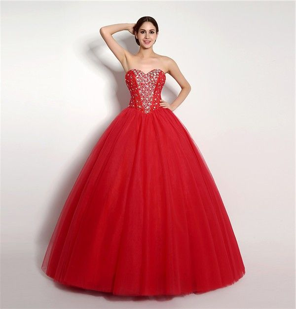 Puffy Ball Gown Strapless Red Tulle Beaded Corset Prom Dress ...
