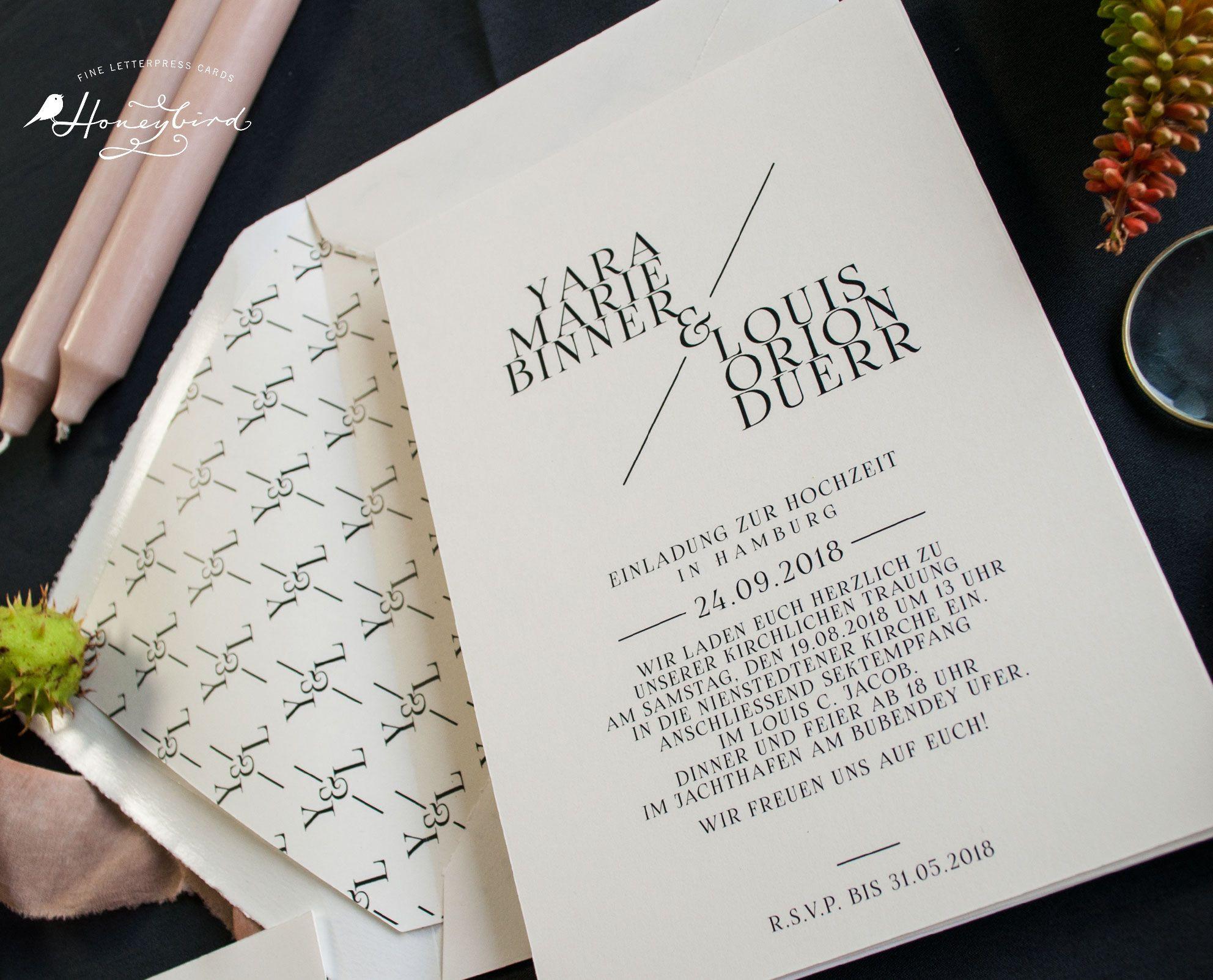 Großartig Honeybird Design Chelsea Einladung Mit Monogramm Als Individuelles  Kuvertinnenfutter (Design Variante Ohne Blumen)