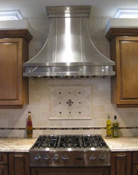 Custom Modern Aire Hood In Brushed Stainless Steel Kitchen Range Hood Lake House Kitchen Kitchen Exhaust