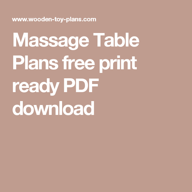 Massage Table Plans Free Print Ready PDF Download