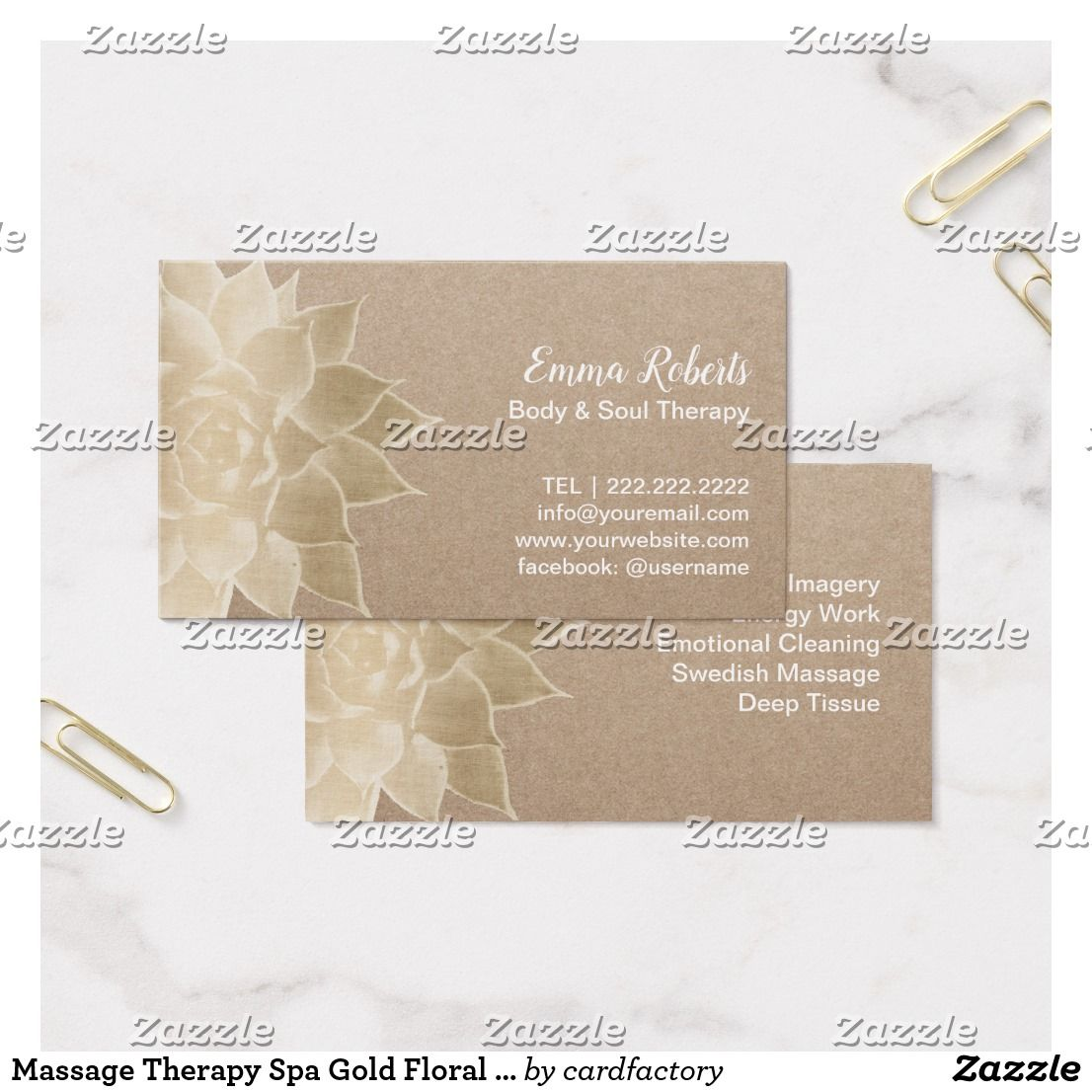 Massage Therapy Spa Gold Floral Rustic Kraft Business Card ...