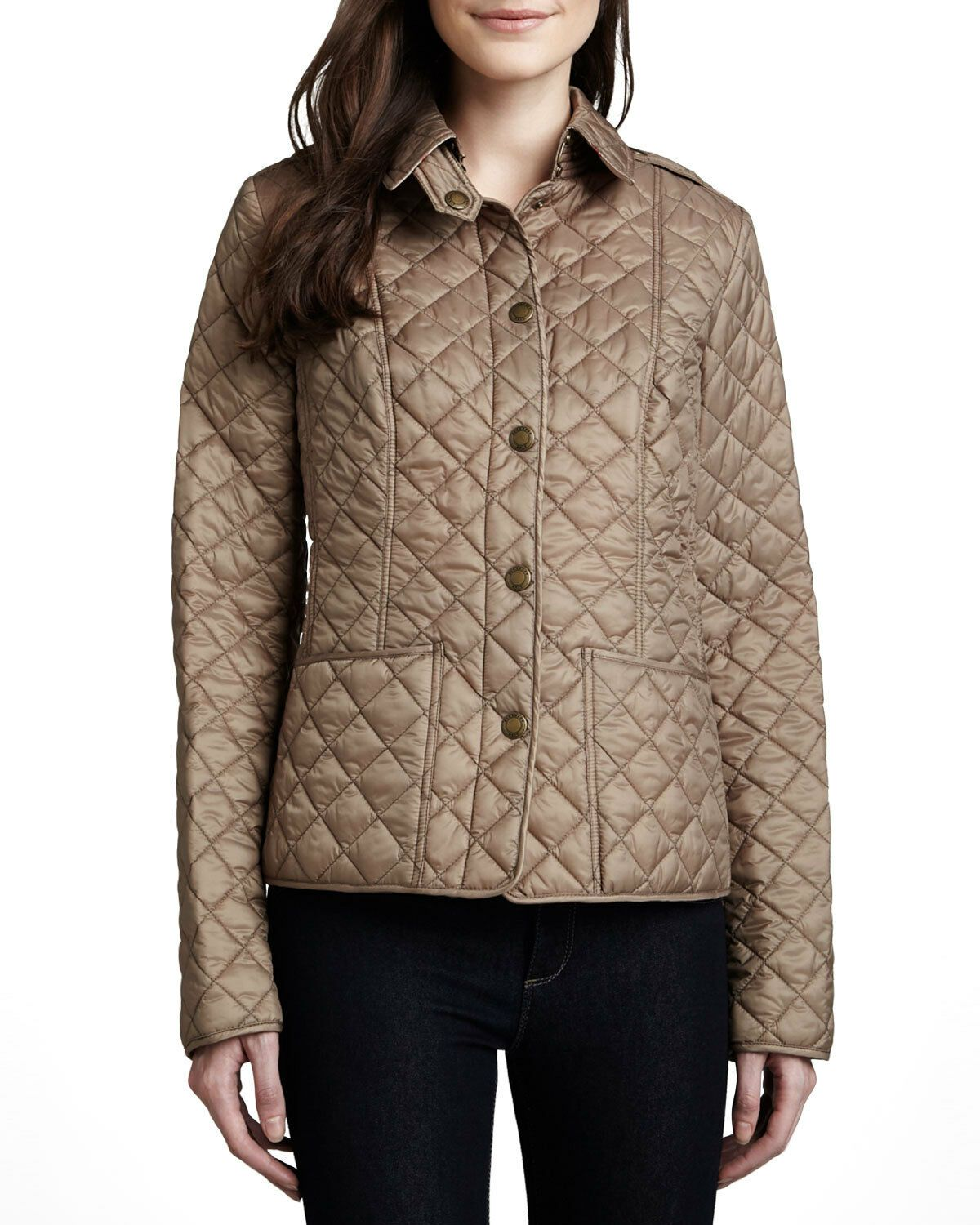 New Burberry Brit Kencott Pocket Quilted Jacket Coat Beige S Small Nwt