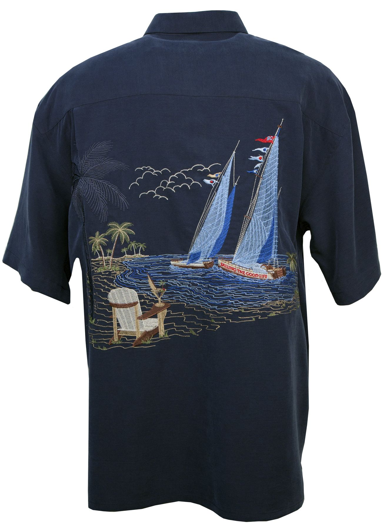 Bamboo Cay - The Good Life - Tropical Embroidered Shirt - Navy, Men's Tropical Hawaiian Clothing, BBC-WB-555-Navy - Paradise Clothing Company