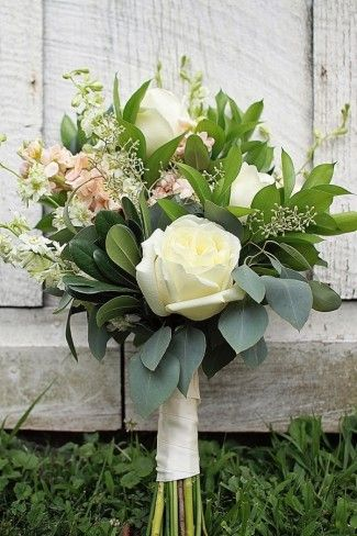 Bouquets White Roses Delphinium Seeded Eucalyptus Italian Ruscus With Peach Stock
