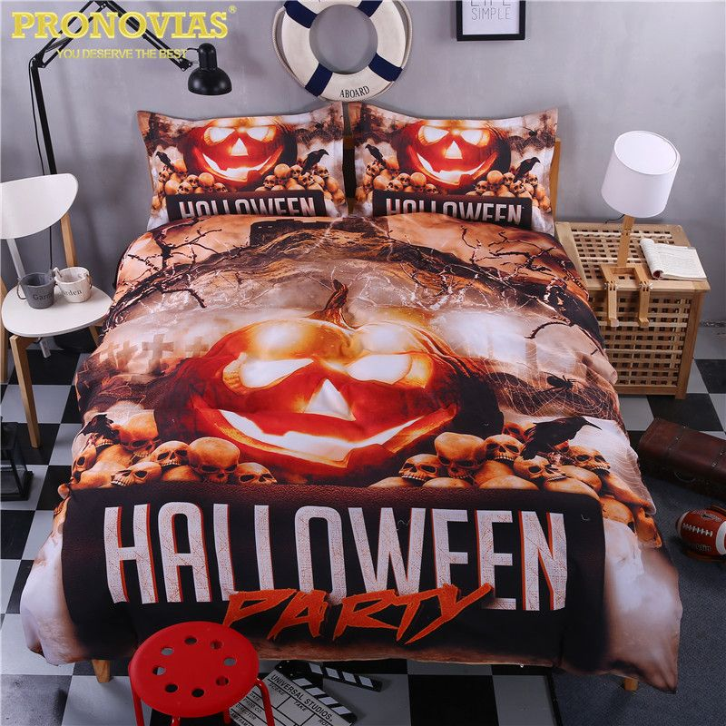 scarry jack halloween bedding set duvet cover pillow cases king ...