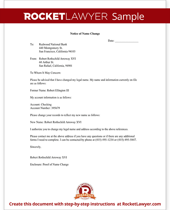 Name Change Notification Letter Free Letter Template