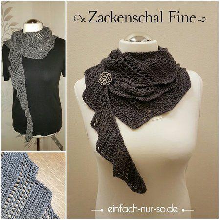 Jetzt einen wunderbaren ++ schmalen ++ langen Schal mit Zacken ...