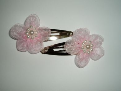 Pair of Baby Pink Orangza Flower Girls Hair Clips