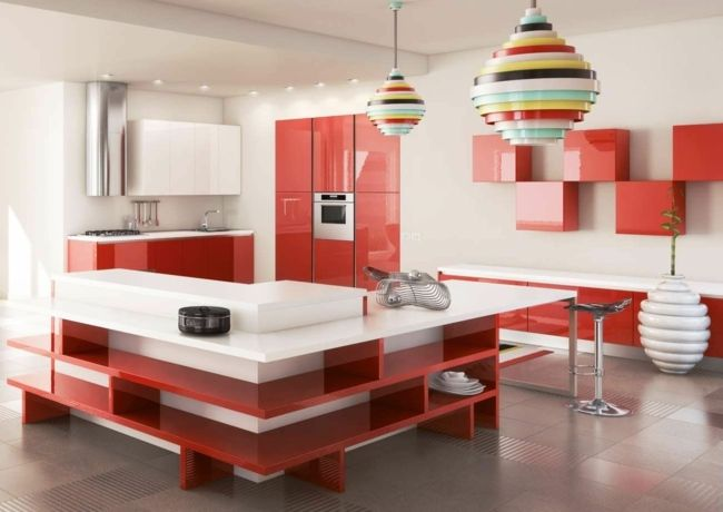 Hochglanz Küchen rot weiß Retro Lampe Küchenfarbe Pinterest - Küchen Weiß Hochglanz