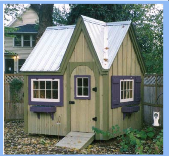Garden Sheds Vermont 8x8 dollhouse/shed. $50 for plans, $3874 for kit. built of the