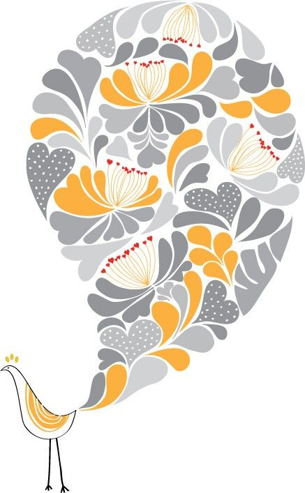 A Little Flower Bird Print / Yellow and Grey