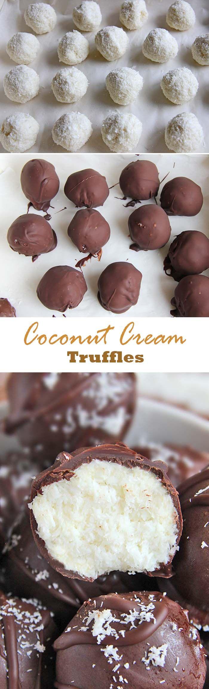 These easy chocolate coconut cream truffles are a coconut and chocolate lovers dream. #coconut #truffles #condensedmilk