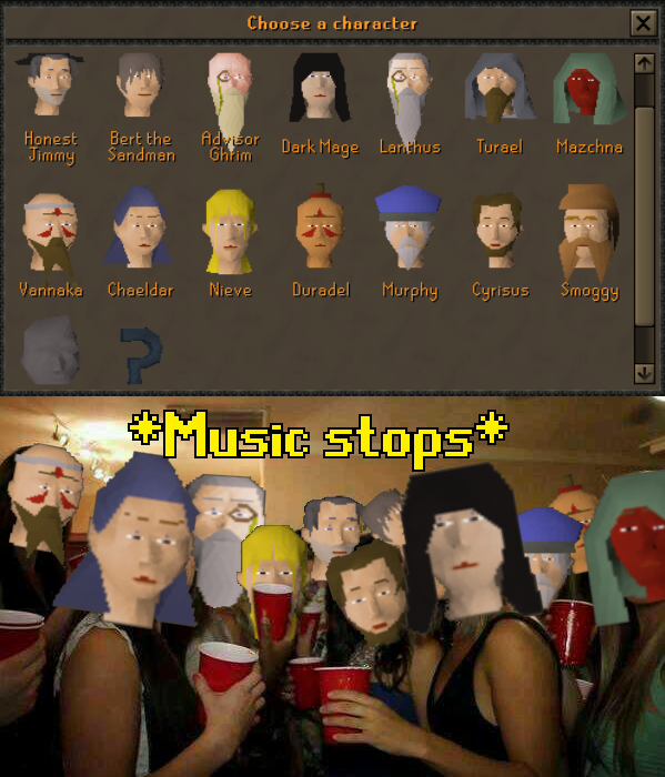How Come Everyone In Npc Contact Looking At Me Like I Came To Their Party Uninvited 2007scape Old School Runescape Npc Like Me