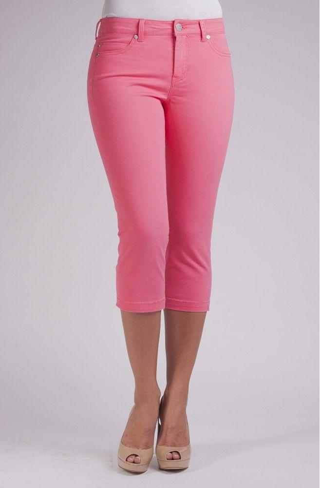 Michelle Capri Fuschia Rose. A soft colored denim capri
