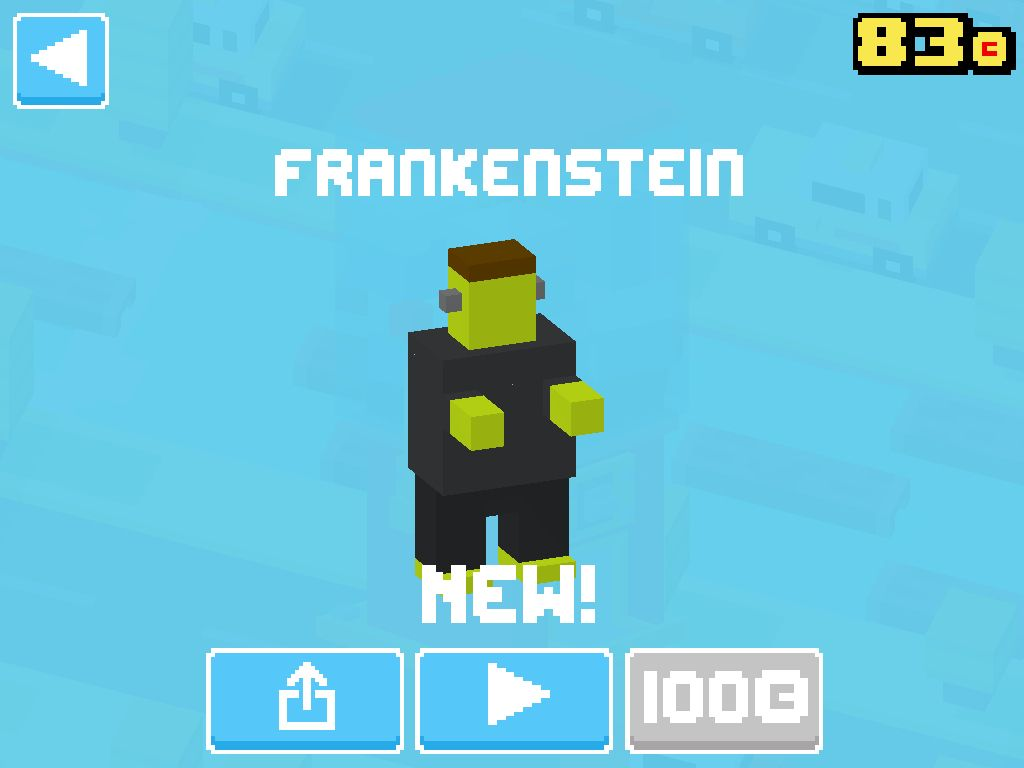 Just unlocked Frankenstein! #crossyroad