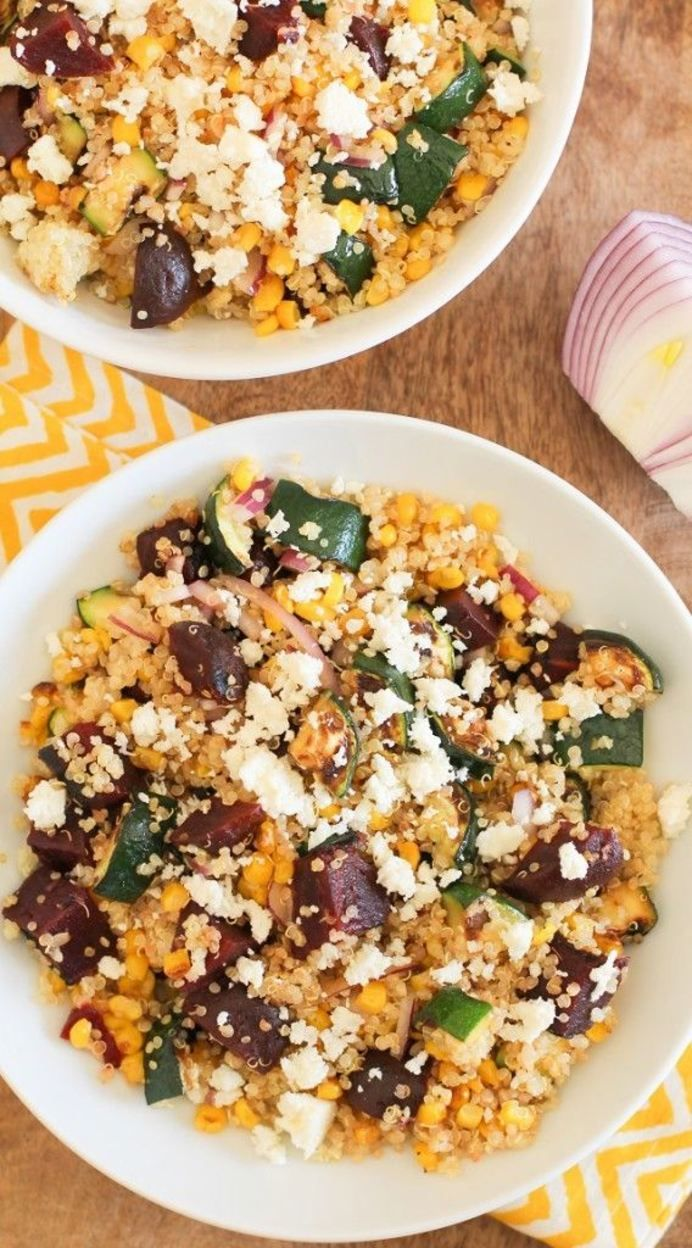 Grilled Zucchini, Corn, and Beet Quinoa Salad with Lime Dressing | theroastedroot.net #vegetarian #recipe #healthy