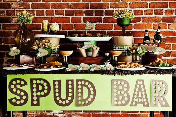 Spud Bar. Great idea for a St. Patricks gathering. All those carbs will soak up all that Guinness